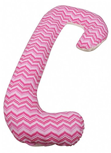 Leachco Snoogle Chic Two Faced - Snoogle Pillow with Zipper Cover for Easy Use - Flannel/Jersey Snoogle Chic Two Faced Pillow (Pink/Ivory) - 1