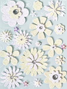 KCompany 362204 Brenda Walton Grand Adhesions Embellishments-Wedding Glitter Flowers White Ivory