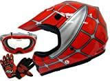 Youth Red Spider Net Dirt Bike Atv Motocross Helmet W/goggles/gloves (Large)