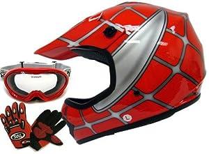 Youth Red Spider Net Dirt Bike Atv Motocross Helmet W/goggles/gloves