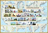 United States Lighthouses Map - Laminated Poster