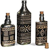 FABULIV DBN101 Vintage Silver Antique Decorative Bottles (Set Of 3) Table Top Accessory Home Decor Gift Item Showpeice