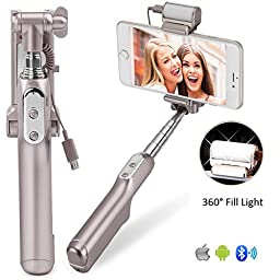 Selfie Stick, Elftear Wireless Bluetooth Selfie Stick Extendable Foldable Monopod with Adjustable 360°Fill Light Rear Mirror for iPhone Android Phone (Gold)