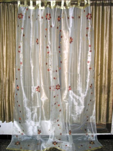 Sari Curtains Drapes 2 Organza White Embroidereded Sheers Panel