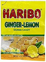 Haribo Gummy Candy, Ginger Lemon, 4-Ounce (Pack of 12)