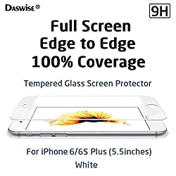 iPhone 6 Plus Screen Protector, Daswise 2015 Full Screen Anti-scratch Tempered Glass Protectors with Curved Edge, Cover Edge-to-Edge, Protect Your 5.5 Inches Space Gray iPhone 6 Plus Screens from Drops & Impacts, HD Clear,