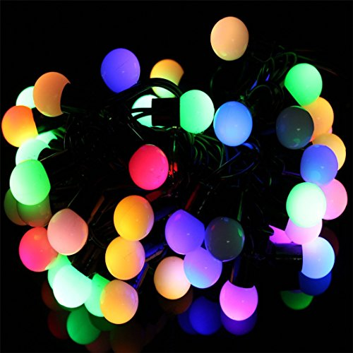 surlight led ball string lights with flashing 17ft 50 leds waterproof color changing globe. Black Bedroom Furniture Sets. Home Design Ideas