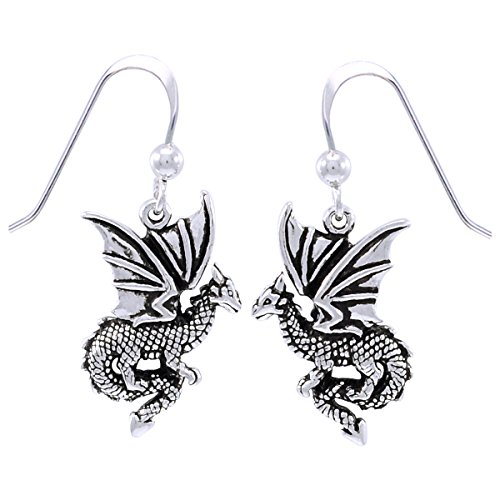 Sterling Silver Flying Dragon Dangle Earrings