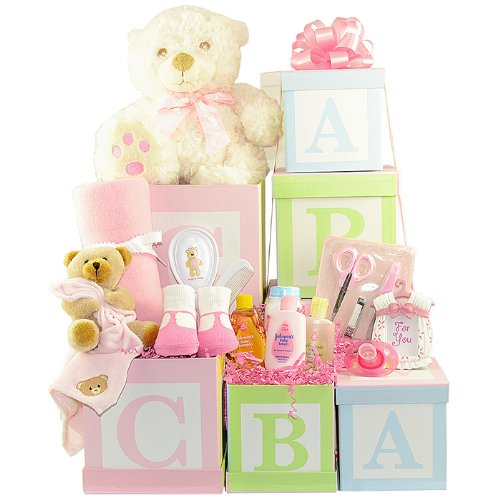 Congratulations New Baby Abc Gift Tower Pink