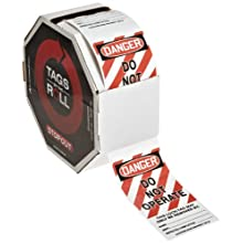"Accuform Signs TAR125 Tags By-The-Roll Lockout Tag, ""Danger - Do Not Operate"", On Roll in Octagonal Cardboard Dispenser, PF-Cardstock (Pack of 250)"