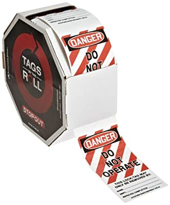 "Accuform Signs TAR125 Tags By-The-Roll Lockout Tags, Legend ""DANGER DO NOT OPERATE"", 6.25"" Length x 3"" Width x 0.010"" Thickness, PF-Cardstock, Red/Black on White (Roll of 250)"