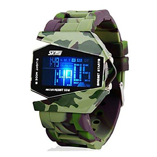 Soleasy Men'S Quartz Camouflage Multi-Functional Digital Colorful Led Silicone Strap Wrist Watch Wth0813