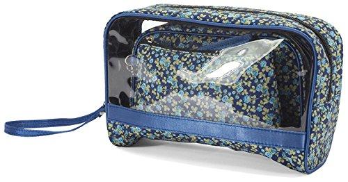 3 Piece Vintage Floral Cosmetic Bag/Purse Set - ideal gift! (BZ4138 BLUE)