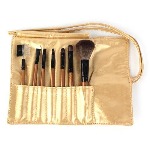7 pièces Maquillage Blush fard à paupières Pinceau à lèvres or pinceaux cosmétiques Set Kit + Housse