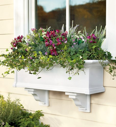 4-Foot Yorkshire Easy-Care Self-Watering Window Planter Box, in White