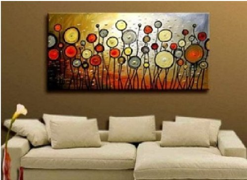 """Huge! Modern Wall Decor Abstract Large Art Oil Painting On Canvas Artwork 24x48"""" Framed & Stretched Ready to Hang"""