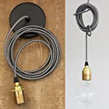 Pendent Set. Lighting Kit. E27 Brass holder, Black & White round fabric cable