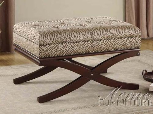Vanity Bench with Zebra Print and Nailhead Trim in Espresso Finish