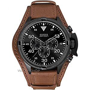 Guess Watches Mens Rover Brown Cuff Watch With Black Dial