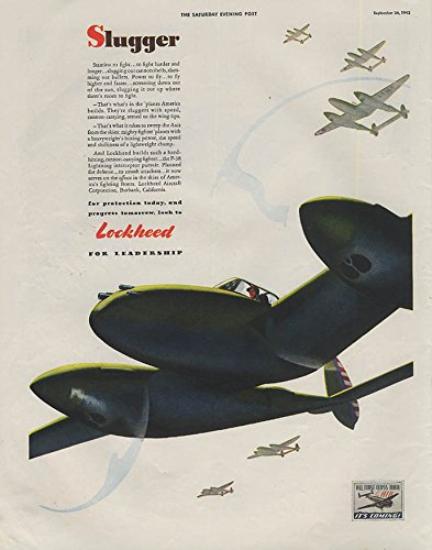 Slugger - Stamina to fight harder & longer Lockheed P-38 Lightning ad 1942 SEP