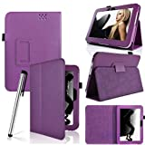 Eallc Ultra Slim PU Leather Stand Case Cover For Amazon Kindle Fire HD 7 UK (flip stand purple)