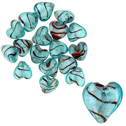 Blue 12x12mm Red Striped Heart Silver Foil Murano Glass Bracelet Loose Beads