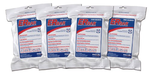 ER Emergency Ration 2400+ Calorie, 5-Year Emergency Food Bar for Survival Kits and Disaster Preparedness (Pack of 4)