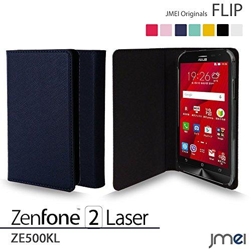 ZenFone2 Laser ZE500KL ケース jmeiオリジナルフリップケース ネイビー 楽天モバイル simフリー ASUS エイスース ゼンフォン 2 レーザー スマホ カバー スマホケース 手帳型 スリム スマートフォン