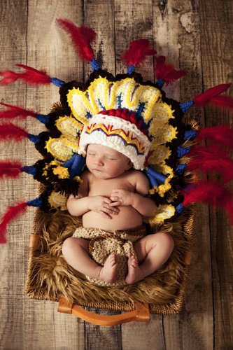 Newborn Baby Photography Prop Handmade Crochet Colorful Indian Feather Hat Cap Ez45