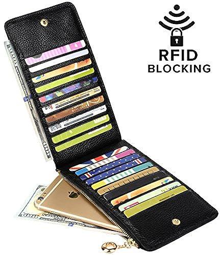 YALUXE Women's Genuine Leather Multi Card Organizer Wallet with Zipper Pocket