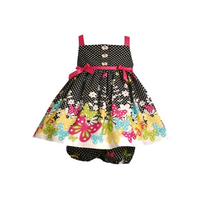 692ae3137b3 Bonnie Jean Baby Infant Girls 3M 9M 2 Piece BLACK WHITE POLKADOT BUTTERFLY  BORDER Spring