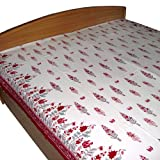 Red and White Floral Block Printed Cotton Bedsheet in Queen Size ~ DakshCraft