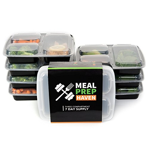 Meal Prep Haven 3 Compartment Food Containers with Airtight Lid, Bento Box, Lunch Box for Meal Prep, 21 Day Fix and Portion Control, Set of 14 (21 Day Meal Containers compare prices)
