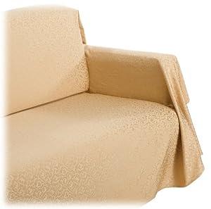 scroll jacquard chair throw cover gold