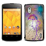 Hard Protective Case Cover Slim Smartphone Shell for LG Google Nexus 4 E960 Business Style Happy Rain Window Painting