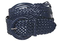 "2"" (50 mm) Genuine Leather Braided Woven Belt Color: Navy Blue Size: S/M - 37 END-TO-END"