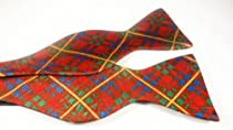 Marlon Garci Red, Green and Gold Tartan Plaid Bow Tie