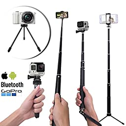 LONGKO Selfie Stick with Tripod Clip Lens Kit Bluetooth Remote for iPhone, Android Smartphones