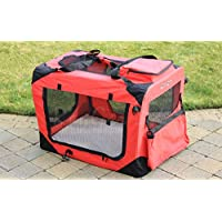 RayGar RED DOG PUPPY CAT PET FABRIC PORTABLE FOLDABLE STRONG SOFT CRATE CARRIER PET KENNEL CAGE LARGE 70 x 52 x 52cm - NEW (Large)