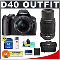 Nikon D40 Digital SLR Camera with 18-55mm f/3.5-5.6G ED II AF-S DX Lens and Nikon AF-S 55-200mm f/4-5.6G ED DX VR Zoom-Nikkor Lens + 4GB SecureDigital (SD) Card