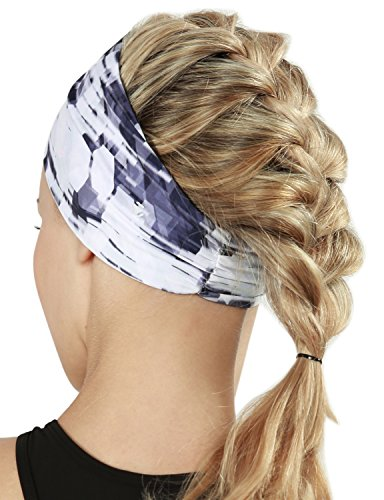 Yoga Reflex Unisex Elastic Yoga Running Sports Fashion Head Wrap Hair Bands , Diagonalgeonavywhite
