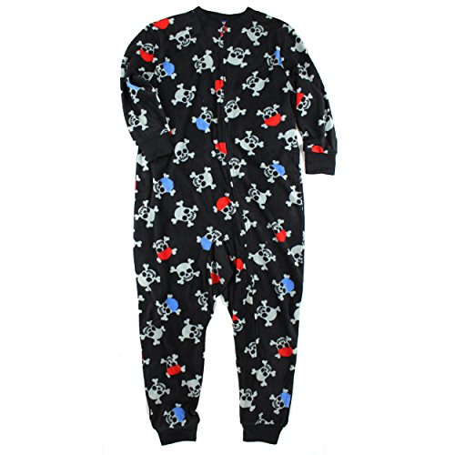 Boys Black Skulls Union Suit Sleeper Pajamas (S(6/7))