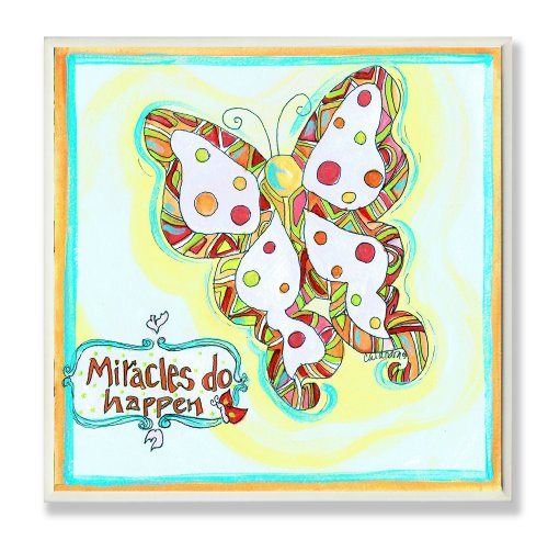 The Kids Room by Stupell Miracles Do Happen Polka Dot Butterfly Square Wall Plaque