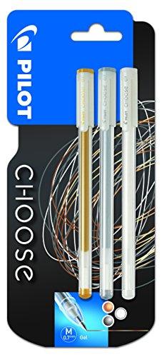 pilot-pen-choose-lot-de-3-stylo-gel-or-argent-blanc