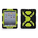 Hot Newest Ipad 2/3/4 Case Silicone Plastic Kid Proof Extreme Duty Dual Protective Back Cover with Kickstand and Sticker for Ipad 4/3/2 - Rainproof Sandproof Dust-proof Shockproof (Black/Fluorescent green)