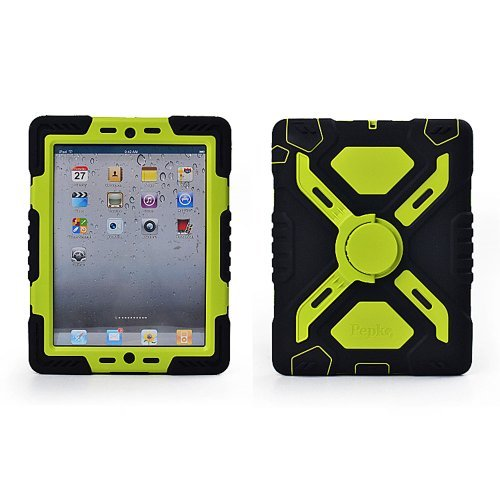 Hot Newest Ipad 2/3/4 Case Silicone Plastic Kid Proof Extreme Duty Dual Protective Back Cover With Kickstand And Sticker For Ipad 4/3/2 - Rainproof Sandproof Dust-Proof Shockproof (Black/Fluorescent Green) front-273817