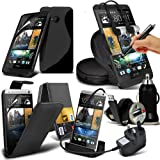 ONX3 10-IN-1 MEGA PACK HTC One M7 PREMIUM (Black) PU 3 CARD SLOTS Leather flip Case Skin Cover + LCD Screen Protector Guard + Micro USB CE Approved 3 Pin Mains Charger + Micro USB Desktop Charging Dock Stand Charger + S Line Wave Gel Case + 360 Rotating