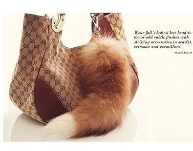 New Genuine Real Fur Tail Key Chain Fox Raccoon Ring Handbag Celebrity Black White Yellow (yellow)