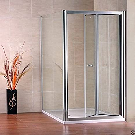 AICA Bifold Shower Enclosure with White Shower Tray Set, Metal/Glass, Chrome, 800 x 900 mm, Set of 4