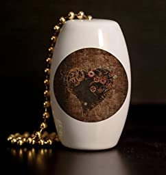 Steampunk Heart Porcelain Fan / Light Pull